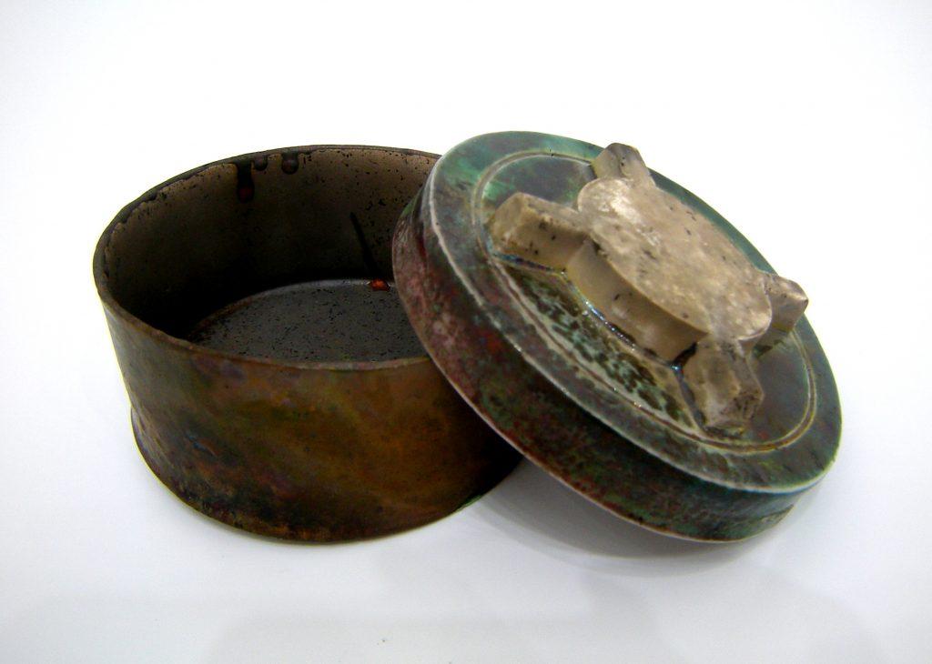 Karen Thompson, KarenT, Karen T, Ceramics, Ceramicist, Porcelain, Trinket Box, Landmine, PMN-2, Political, Art, Decals