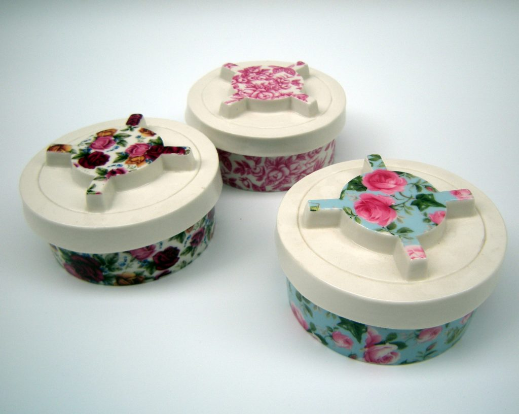 Karen Thompson, KarenT, Karen T, Ceramics, Ceramicist, Porcelain, Trinket Box, Landmine, PMN-2, Political, Art, Decals